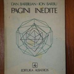 PAGINI INEDITE DAN BARBILIAN--ION BARBU