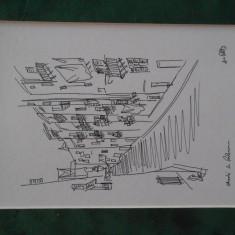Tus, Tia Peltz, Strada in Palermo, 15x20, cu passepartout, Peisaje, Cerneala, Realism