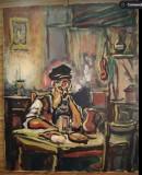 Cumpara ieftin Tablou vechi romanesc, ulei pe panza, fara rama, 50x40, insemnari verso pe sasiu, Scene gen, Realism