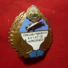 Insigna Militara - Scoala Militara de Ofiteri de Aviatie Aurel Vlaicu ,h=4,3cm