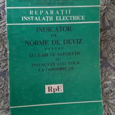 INDICATOR DE NORME DE DEVIZ PENTRU LUCRARI DE REPARATII DE  INSTALATII ELECTRICE