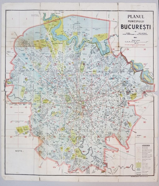 PLANUL MUNICIPIULUI BUCURESTI de COL. ULISSE SIMBOTEANU si M. D. MOLDOVEANU - 1941