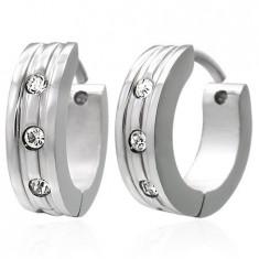 Cercei din oţel - verigi lucioase, argintii, trei ştrasuri rotunde