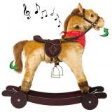 Calut balansoar din plus cu roti pentru copii cu sunete si miscari, culoare maro