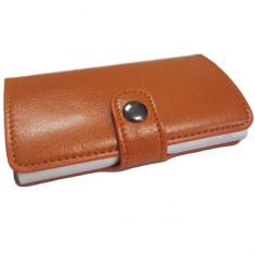 Portofel unisex, port card iUni P2, RFID, Compartiment 6 carduri, Portocaliu, Maro