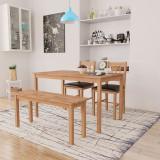 Set mobilier de sufragerie, 4 piese, lemn masiv de stejar