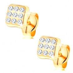 Cercei din aur galben de 14K - pătrat strălucitor, zirconii rotunde transparente