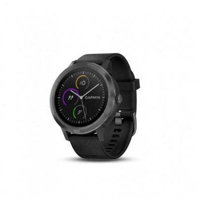 Ceas smartwatch garmin vivoactive 3 gps slate curea silicon neagra foto