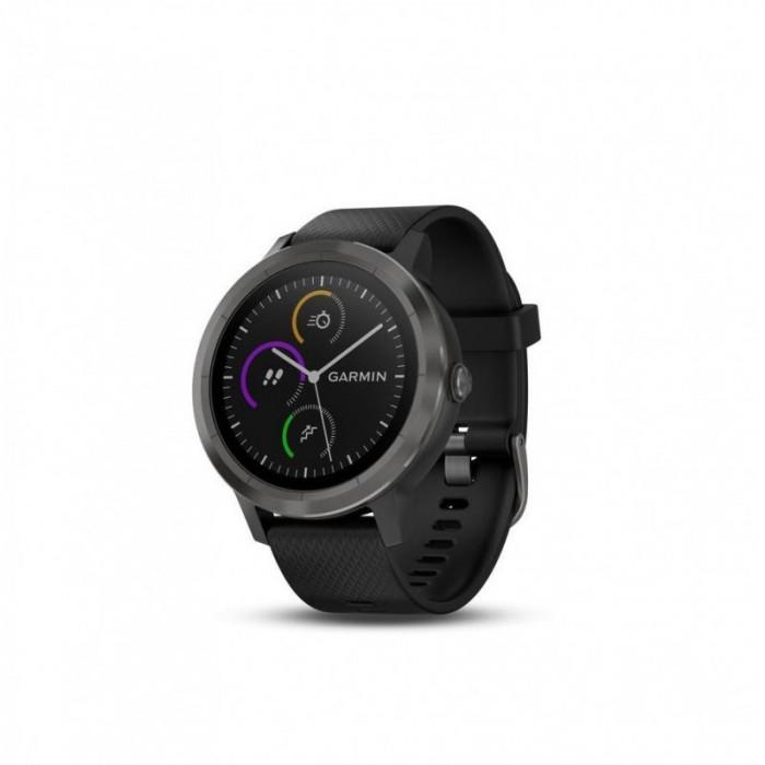 Ceas smartwatch garmin vivoactive 3 gps slate curea silicon neagra