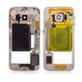 Carcasa Mijloc cu geam camera / blitz , Samsung G925 Galaxy S6 Edge Gold Orig Swap A