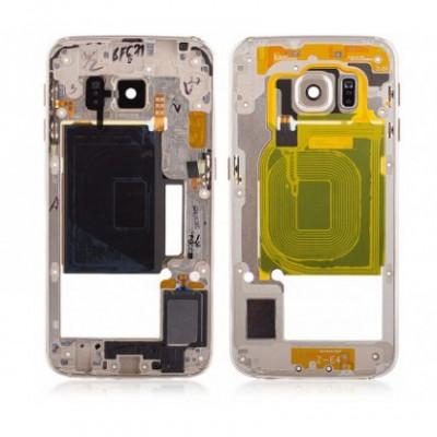 Carcasa Mijloc cu geam camera / blitz , Samsung G925 Galaxy S6 Edge Gold Orig Swap A foto
