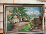 TABLOU MARE SEMNAT MIHET PICTURA ULEI PE PANZA 100X74 cm, Natura, Realism