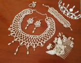 Set nunta, ocazii, evenimente, margele albe, handmade