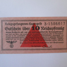 Rara! 10 Reichspfennig 1939-1945,bancnota circul.in lagarele prizonieri Germania