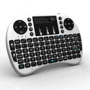 Mini tastatura Rii tek RTMWK08WPBT Bluetooth cu touchpad compatibila smart tv si playstation Alb