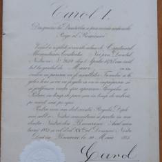 Diploma regala , semnata olograf de Carol I , 1885