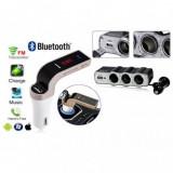 Pachet Modulator FM auto Bluetooth si Prelungitor cu 3 prize 12v la bricheta, Modulator FM Stereo, ART