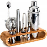 Set cocktail Shaker kit bar cu suport bambus/ accesorii vin/ oțel inoxidabil