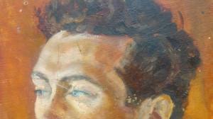 Portret barbat + peisaj cu case// Ion Taralunga, ulei pe carton