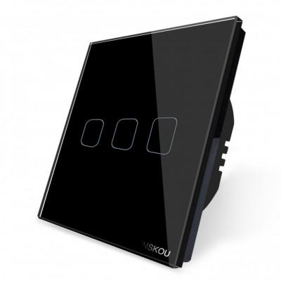Intrerupator triplu touch Cnskou, panou tactil de sticla cristal, negru foto