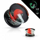 Plug pentru urechi din sticlă Pyrex - mulat cu o ciupercă albă cu capac roșu - Lățime: 12 mm