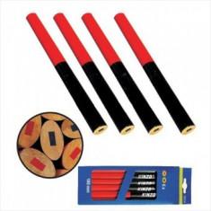 Set 12 creioane tamplarie ovale, 175 mm, rosu/albastru, Strend Pro CP0658