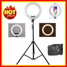 Lampa Circulara LED Cosmetica Ring Light 12 lumina calda/ rece Trepied 35cm RL