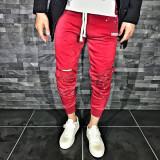Pantaloni pentru barbati de trening rosu conici banda jos cu siret alb rupturi genunchi bumbac Z0007