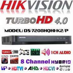DVR 8 canale Turbo HD Hikvision DS-7208HQHI-K2/P 2xSATA, PoC