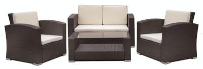 Set mobilier terasa,gradina RAKI MATO din ratan 4 piese masa, canapea si 2 fotolii culoare cafea.perne albe foto