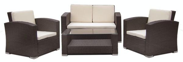 Set mobilier terasa,gradina RAKI MATO din ratan 4 piese masa, canapea si 2 fotolii culoare cafea.perne albe