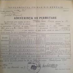 1927, Adeverință Permutare, com. Suceveni, Storojineț, iudaica