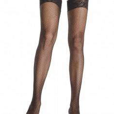Ciorapi Tip Plasa Cu Dantela, Model 9023q, Negru - XL