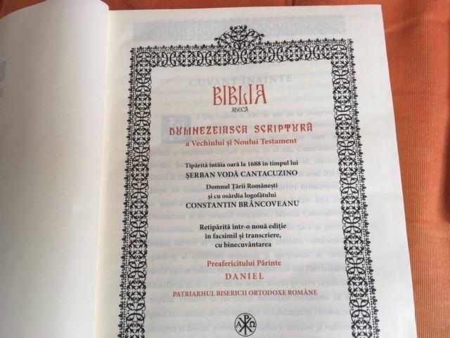 BIBLIA DE LA BUCURESTI- A LUI SERBAN CANTACUZINO- 1688 RETIPARITA CU FACSIMILE