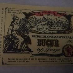 Eticheta bere Romania - BUCUR  tip AZUGA -  1982  ( mica )