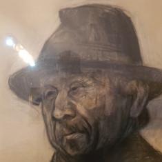 Portret lucrat in carbune,creion - tablou inramat sticla anii 1920-1950