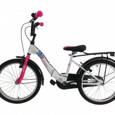 """Bicicleta Copii Umit Picolo Pliabila, Culoare Alb/Roz, Roata 20"""", Cadru OtelPB Cod:2019200000"""