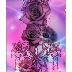Husa Silicon Soft Upzz Print iPhone 6 / 6s Model Neon Rose