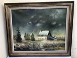 Tablou,pictura veche franceza,in ulei pe panza,furtuna,rama din lemn