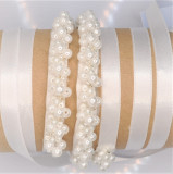 Cumpara ieftin Centură mireasă mărgele alb perlat/ ivory/ sidef - coronita - dezgatit mireasa