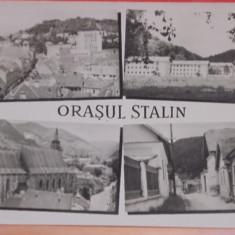 BRA SOV - 4 VEDERI DIN ORASUL STALIN - R.P.R. 1957 - CIRCULATA, TIMBRATA.