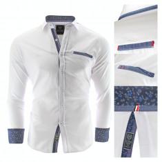 Camasa pentru barbati, alb, Slim fit, casual, cu guler - Prato, L, M, S, XL, Maneca lunga