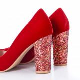 Pantofi Dilomi rosii cu gliter