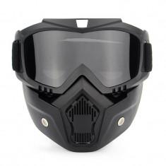 Masca protectie fata din plastic dur + ochelari ski, lentila neagra, model ND03