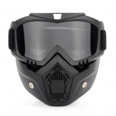 Masca protectie fata din plastic dur + ochelari ski, lentila neagra, ND03
