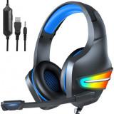 Casti gaming stereo multicolor, microfon, Surround Sound 7.1, Super Deep Bass, Lumina LED