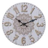 Cumpara ieftin Ceas perete din lemn culoare alb si crem diametru 34 cm