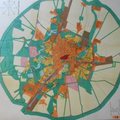 Harta Bucuresti 1934, litografie, 100x90cm, ed. Dorelia, caserata, perfecta