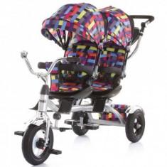 Tricicleta Pentru Copii gemeni Chipolino Tandem - Multicolor