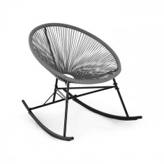 Blumfeldt Roqueta, scaun balansoar, design retro, 4mm panglică, gri